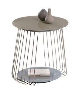 WHITE LABEL - table appoint design rivoli en verre satine cappuc - Table D'appoint
