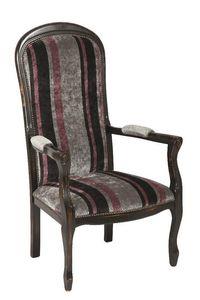 WHITE LABEL - fauteuil voltaire en h�tre laqu� noir vieilli - Fauteuil