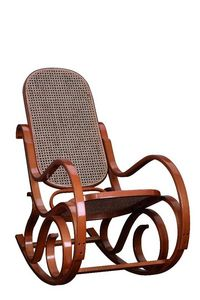 WHITE LABEL - rocking-chair canné franklin teinté miel - Rocking Chair