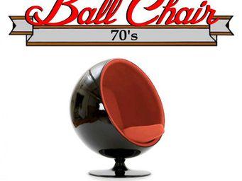WHITE LABEL - fauteuil boule, ball chair coque noir / intérieur  - Fauteuil