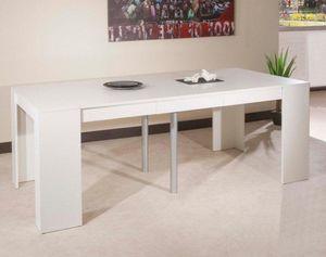 WHITE LABEL - console elasto blanc mat, extensible en table repa - Table De Repas Rectangulaire