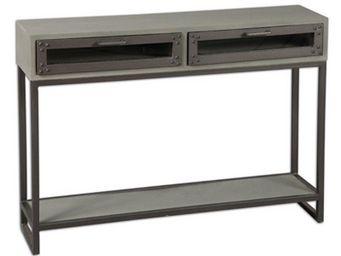 WHITE LABEL - console industry cérusé gris avec 2 tiroirs - Console