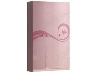 WHITE LABEL - armoire penderie lizzy rose brillant 3 portes - Armoire À Portes Battantes