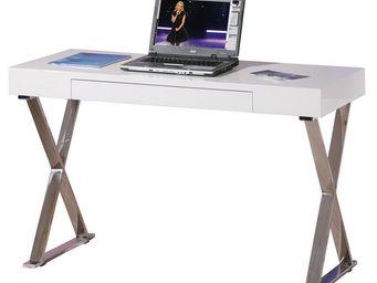 WHITE LABEL - table de bureau design blanc laqué et métal chromé - Bureau