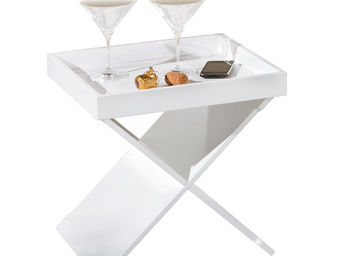 WHITE LABEL - table d?appoint fonctionnel design coloris blanc - Table D'appoint
