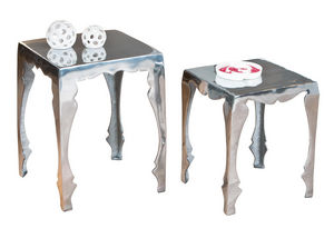 WHITE LABEL - lot de 2 tables d?appoint carré en métal design - Table D'appoint