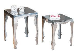 WHITE LABEL - lot de 2 tables d?appoint carré en métal design - Table D'appoint