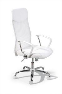 WHITE LABEL - chaise de bureau moderne coloris blanc - Fauteuil De Bureau
