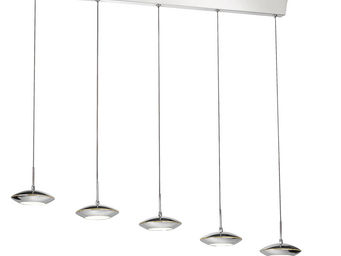 WHITE LABEL - suspension � 5 lampes led acier chrom� - Suspension