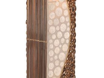 WHITE LABEL - lampadaire colonne design bambou coloris brun et b - Lampadaire
