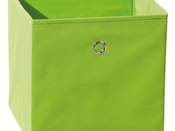 WHITE LABEL - boite de rangement carré design coloris vert pomme - Caisse De Rangement