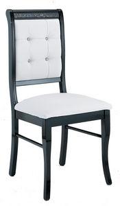 COMFORIUM - lot de 2 chaises ultra design noir et blanc avec s - Chaise