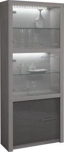 COMFORIUM - vitrine à 3 portes de coloris bois et gris laqué a - Vaisselier