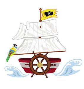 Wallies - sticker géant bateau de pirates - Sticker Décor Adhésif Enfant