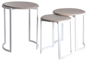 Aubry-Gaspard - sellettes en m�tal blanc et manguier (lot de 3) - Tables Gigognes