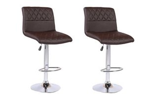 WHITE LABEL - lot de 2 chaises de bar moon similicuir marron - Chaise Haute De Bar