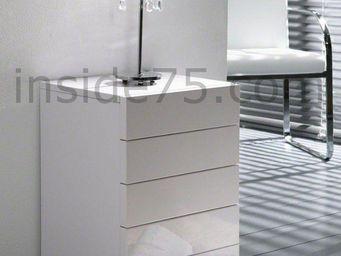 WHITE LABEL - white chevet 5 tiroirs laqué blanc design - Table De Chevet
