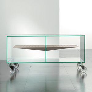 WHITE LABEL - meuble tv malta en verre étagère centrale taupe - Meuble Tv Hi Fi