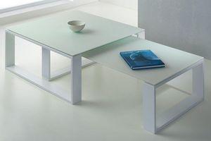 WHITE LABEL - ensemble 2 tables basses tacos verre dépoli blanc - Tables Gigognes