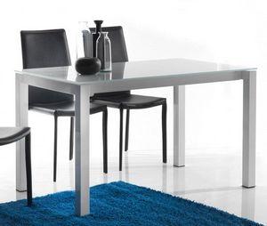 WHITE LABEL - table repas extensible jumper blanche - Table De Repas Rectangulaire