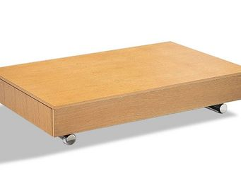 WHITE LABEL - table basse relevable cube chêne clair extensible  - Table Basse Relevable
