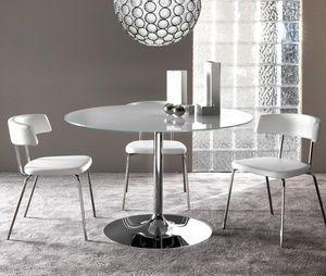 WHITE LABEL - table repas armony en verre blanc et acier chromé  - Table De Repas Ronde