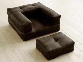 WHITE LABEL - fauteuil cube 3 en 1 futon aspect cuir vintage mok - Fauteuil Et Pouf