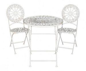Demeure et Jardin - salon de jardin pliant en fer forgé patine blanche - Table De Jardin