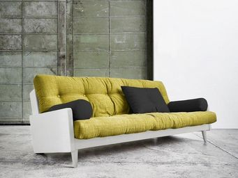 WHITE LABEL - canapé blanc 3/4 places convertible indie futon av - Canapé 3 Places