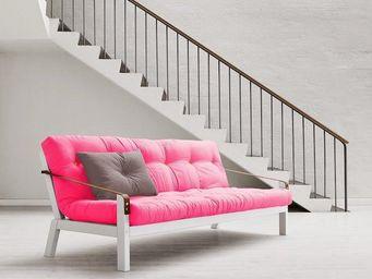 WHITE LABEL - canapé blanc 3/4 places convertible poetry futon m - Canapé 3 Places