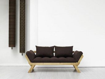 WHITE LABEL - banquette méridienne pin massif miel futon marron  - Méridienne
