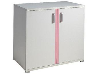 WHITE LABEL - commode valentine design blanche et rose 2 portes - Commode