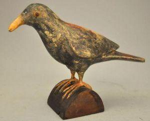 Demeure et Jardin - statue d'oiseau décoratif en bois lazuré - Sculpture Animalière