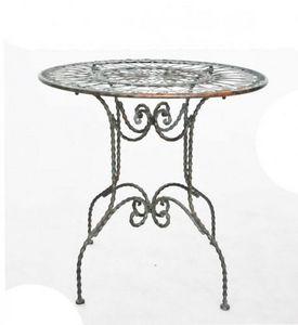 Demeure et Jardin - gueridon en fer forgé patine vert de gris - Table De Jardin