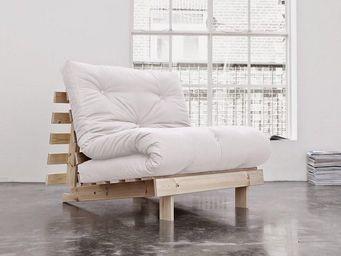 WHITE LABEL - fauteuil bz style scandinave roots futon écru couc - Fauteuil