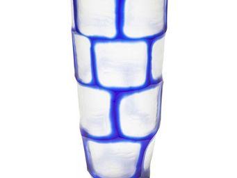 Kare Design - vase lamella concave bleu 37 cm - Vase Décoratif