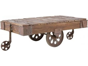Kare Design - table basse en bois railway 135x80 cm - Table Basse Rectangulaire