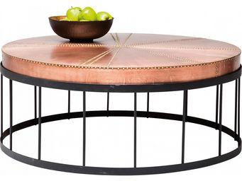 Kare Design - table basse ronde rivet copper - Table Basse Ronde