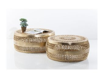 Kare Design - tables basses cleopatra ornament dorées 2/set - Table Basse Ronde