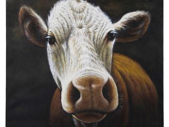 Kare Design - peinture � l huile cow 100x120 - Tableau D�coratif