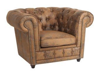 Kare Design - fauteuil capitonné oxford vintage - Fauteuil Chesterfield
