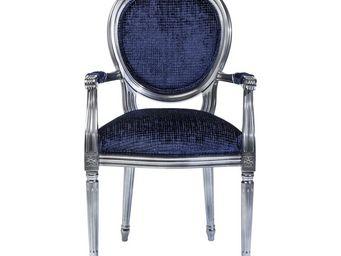 Kare Design - fauteuil baroque posh silver bleu - Fauteuil