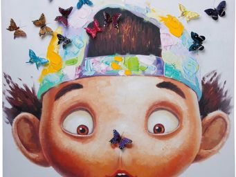 Kare Design - tableau touched boy with butterflys 70x70cm - - Tableau Décoratif
