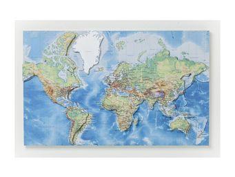 Kare Design - décoration murale world map 3d - Tableau Décoratif