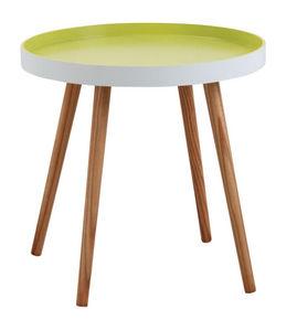 Aubry-Gaspard - table d'appoint ronde en bois et mdf laqué vert a - Table D'appoint
