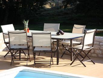 PROLOISIRS - salon cancun 1 table + 6 chaises pliantes - Salle À Manger De Jardin