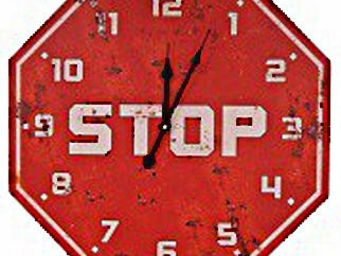 Antic Line Creations - horloge insolite en bois stop 50cm - Horloge Murale