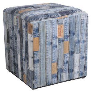 Aubry-Gaspard - pouf carré en jeans recyclé ceintures - Pouf