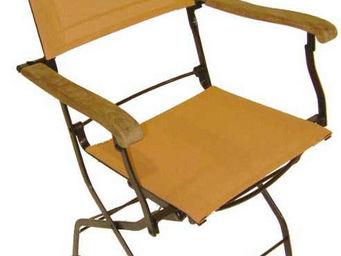 MEDICIS FRANCE - fauteuils pliants orange en fer forgé et textilène - Fauteuil De Jardin
