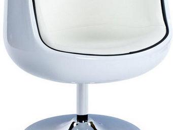 KOKOON DESIGN - fauteuil design pivotant harlow blanc - Fauteuil Rotatif